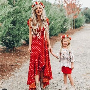 Vici polka dot dress rust red color